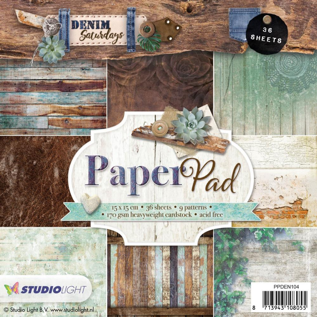 "Studio Light - Paper Pad 6""X6"" 36/Pkg - Denim Saturdays - Aqua (PPDEN104)"