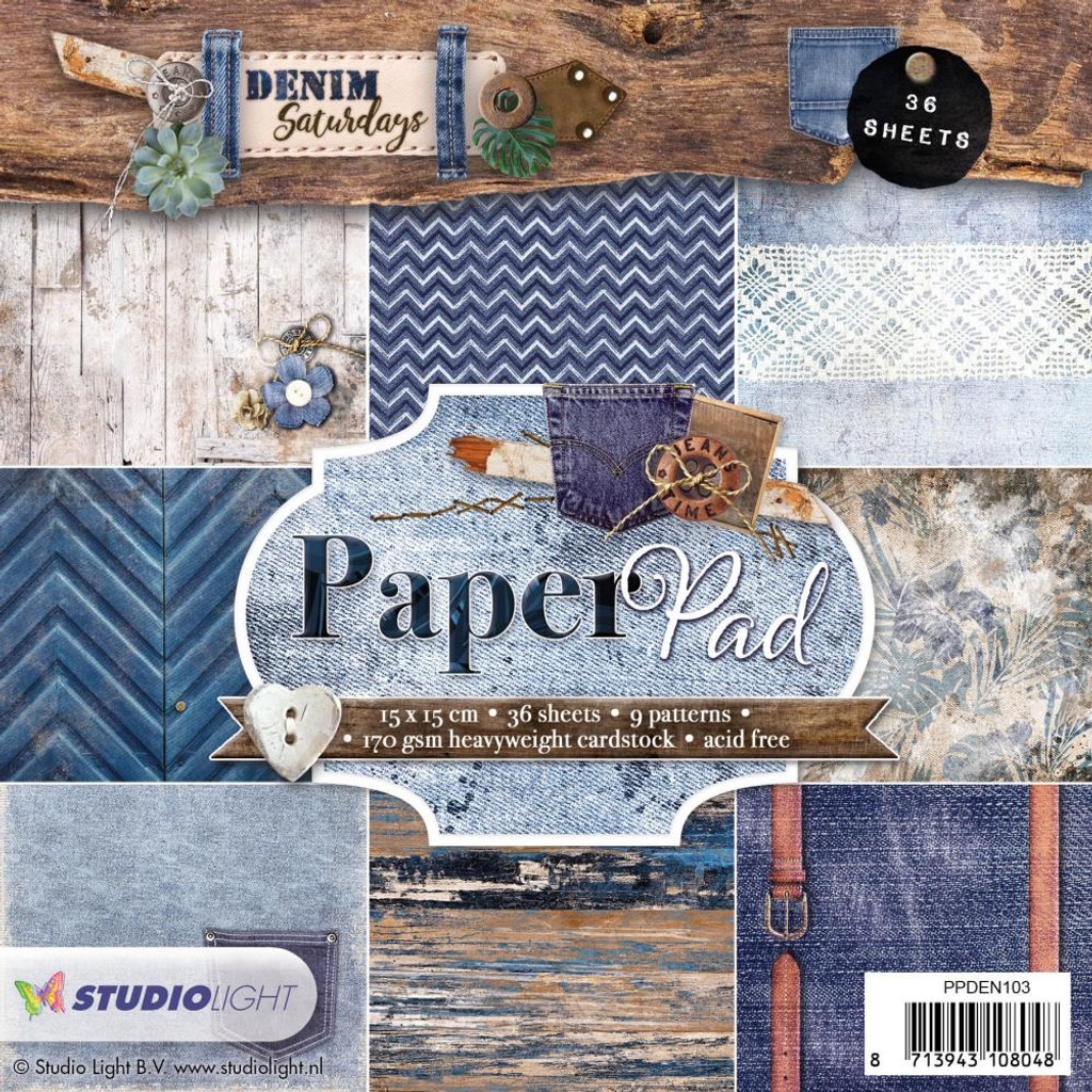 "Studio Light - Paper Pad 6""X6"" 36/Pkg - Denim Saturdays - Dark Blue (PPDEN103"