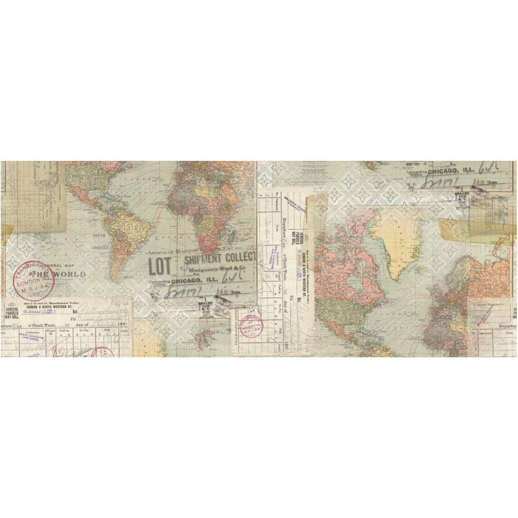 """Tim Holtz - Idea-Ology - Collage Paper 6""""X6 yds - Travel (TH93950)"""