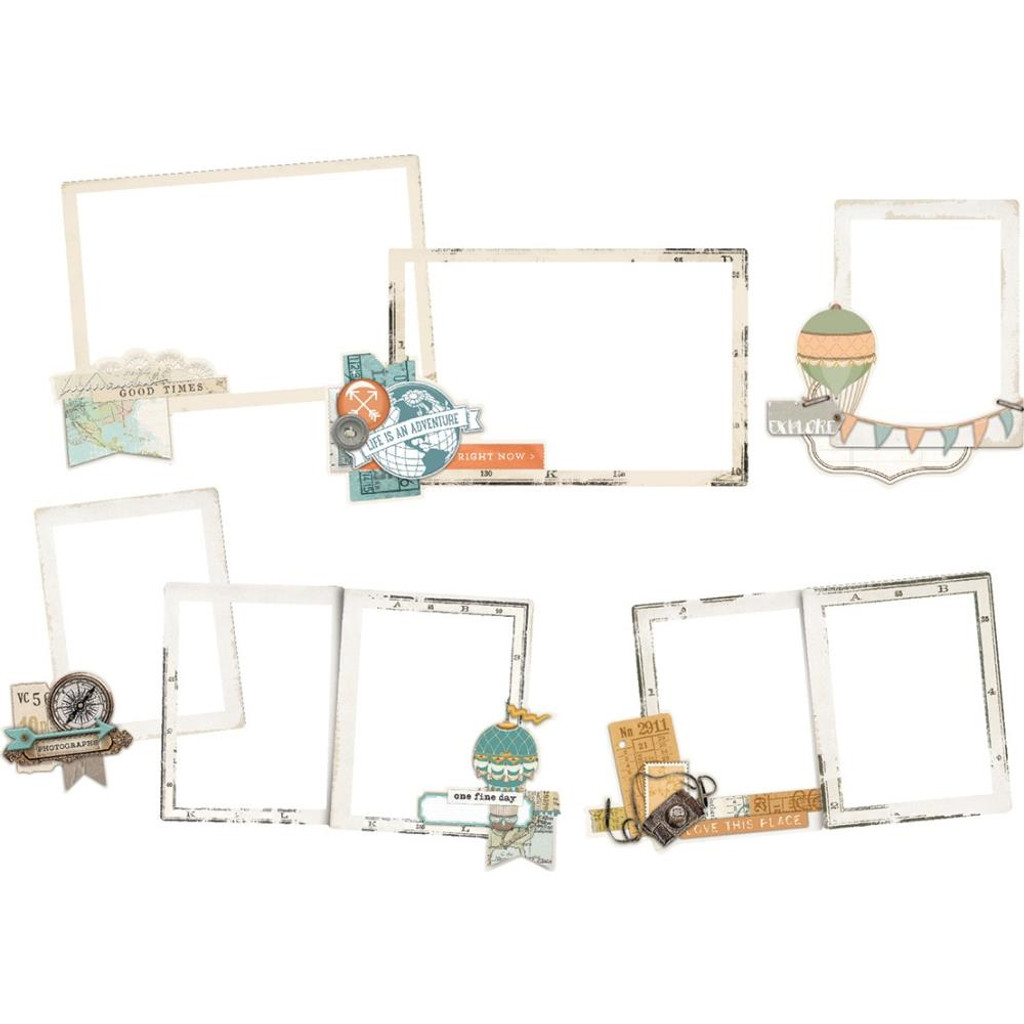 Simple Stories -Layered Frames Die-Cuts 6/Pkg - Simple Vintage Traveler (10464)