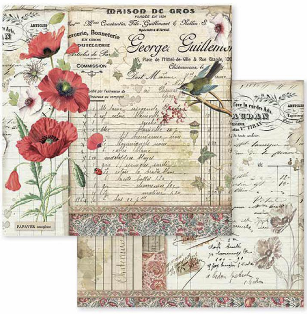 Stamperia - Double-Sided Cardstock 12x12 - Spring Botanic - Poppy and Little Bird (SBB587)