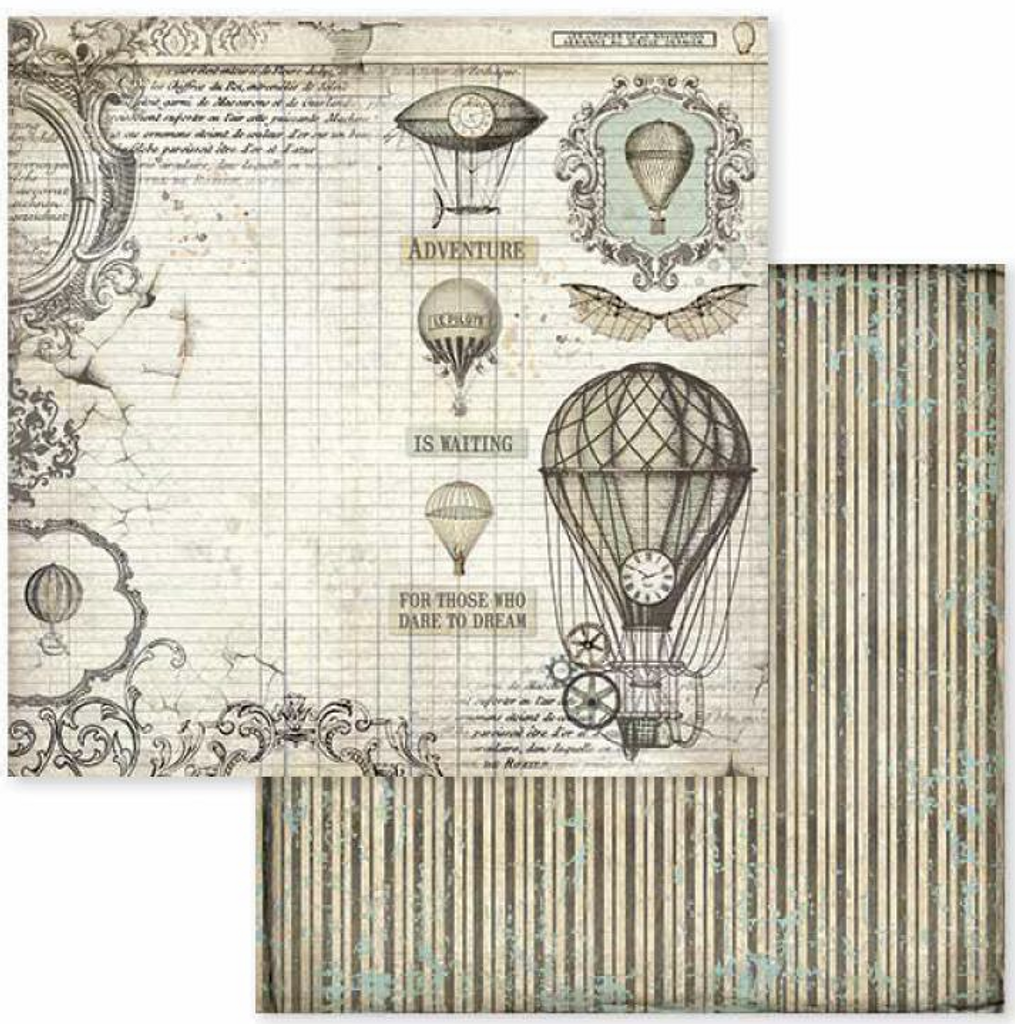 12x12 Double-Sided Paper - Voyages Fantastiques - Air Balloon (SBB599)
