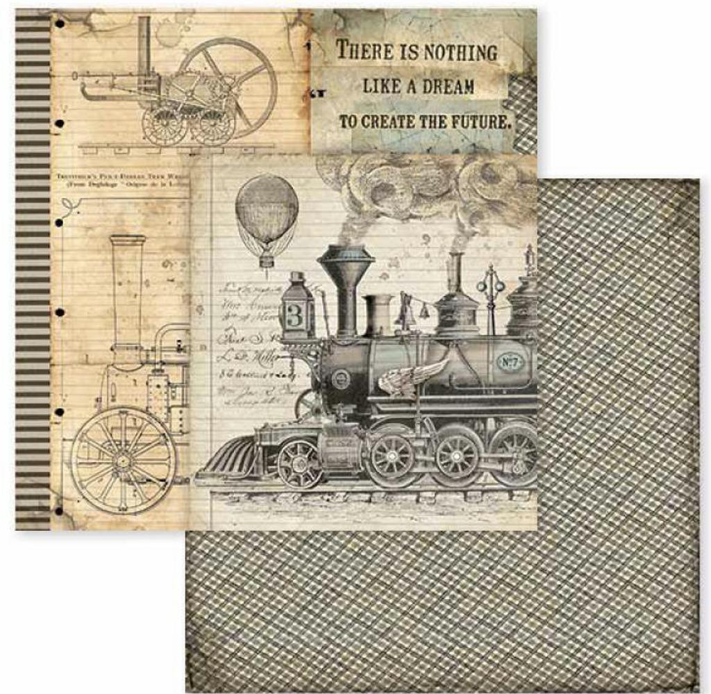 "NEW Stamperia  12/"" x 12/"" Paper Pad Voyages Fantastiques"