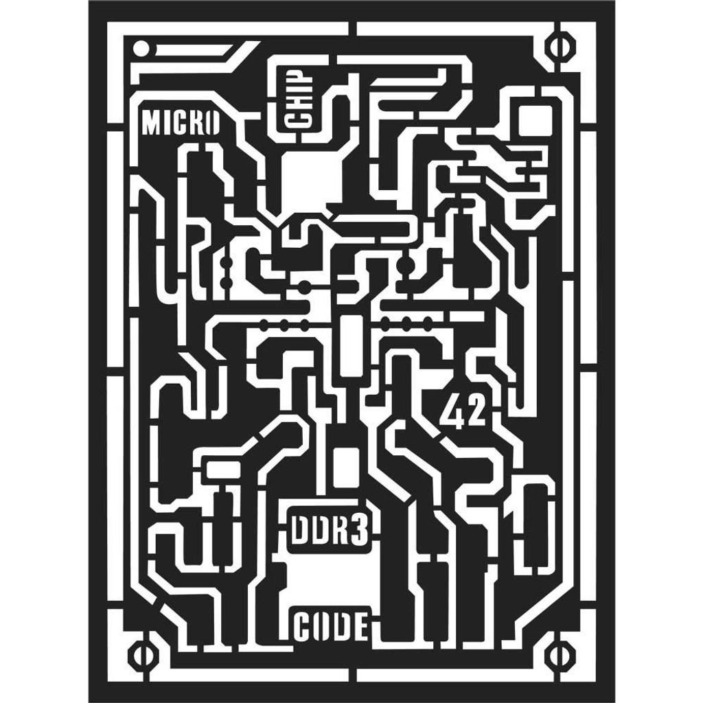 "Stamperia - 7.87"" X 5.91"" Stencil - Micro Chip (KSAT06)"