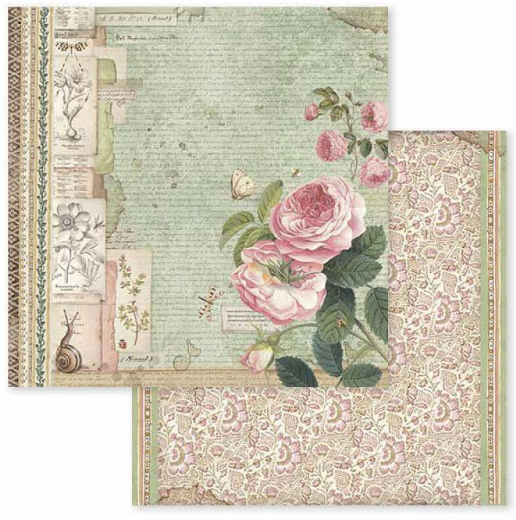 Stamperia - Double-Sided Cardstock 12x12 - Spring Botanic - English Roses w/Snail (SBB592)