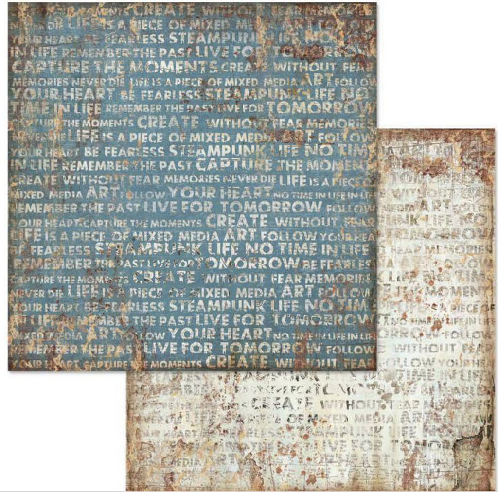 Stamperia - 12x12 Double-Sided Paper -  Mechanical Fantasy - Writings (SBB612)