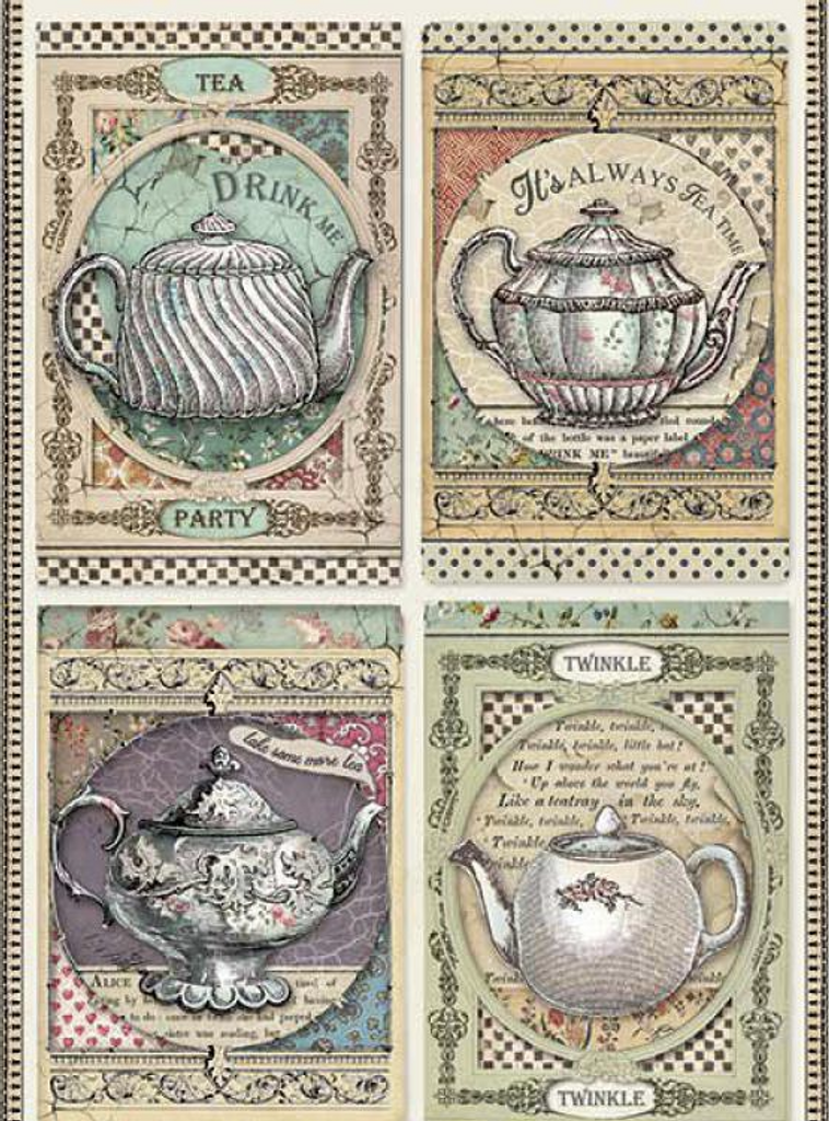 Stamperia - Decoupage Rice Paper A4 - Alice Collection - Tea Time (DFSA4350)
