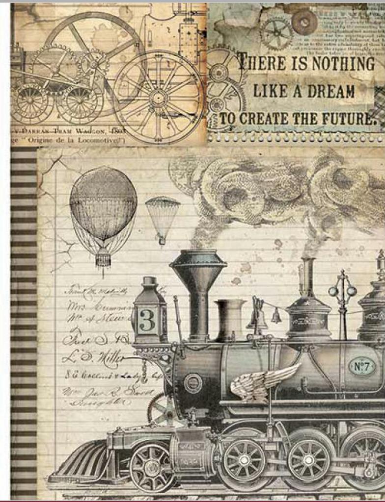Stamperia - Decoupage Rice Paper A4 - Voyages Fantastiques - Train (DFSA4372)