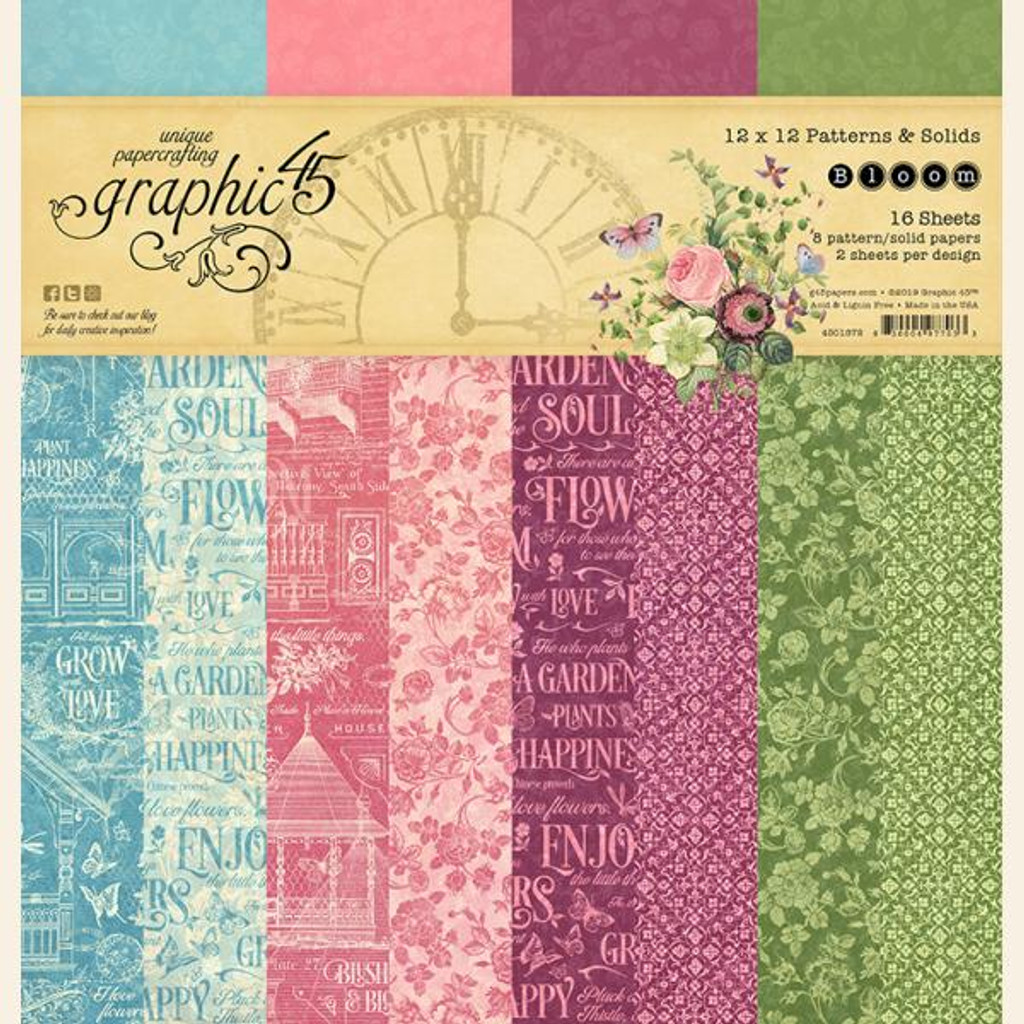 Graphic 45 - Paper Pad 12x12 - Bloom - Patterns and Solids (G4501872)