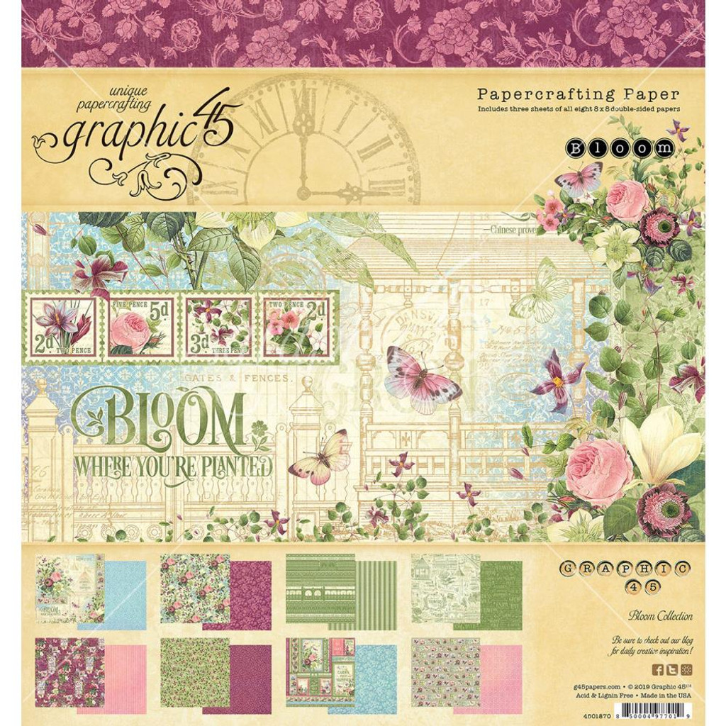 """Graphic 45 - Double-Sided Paper Pad 8""""X8"""" - Bloom (G4501870)"""
