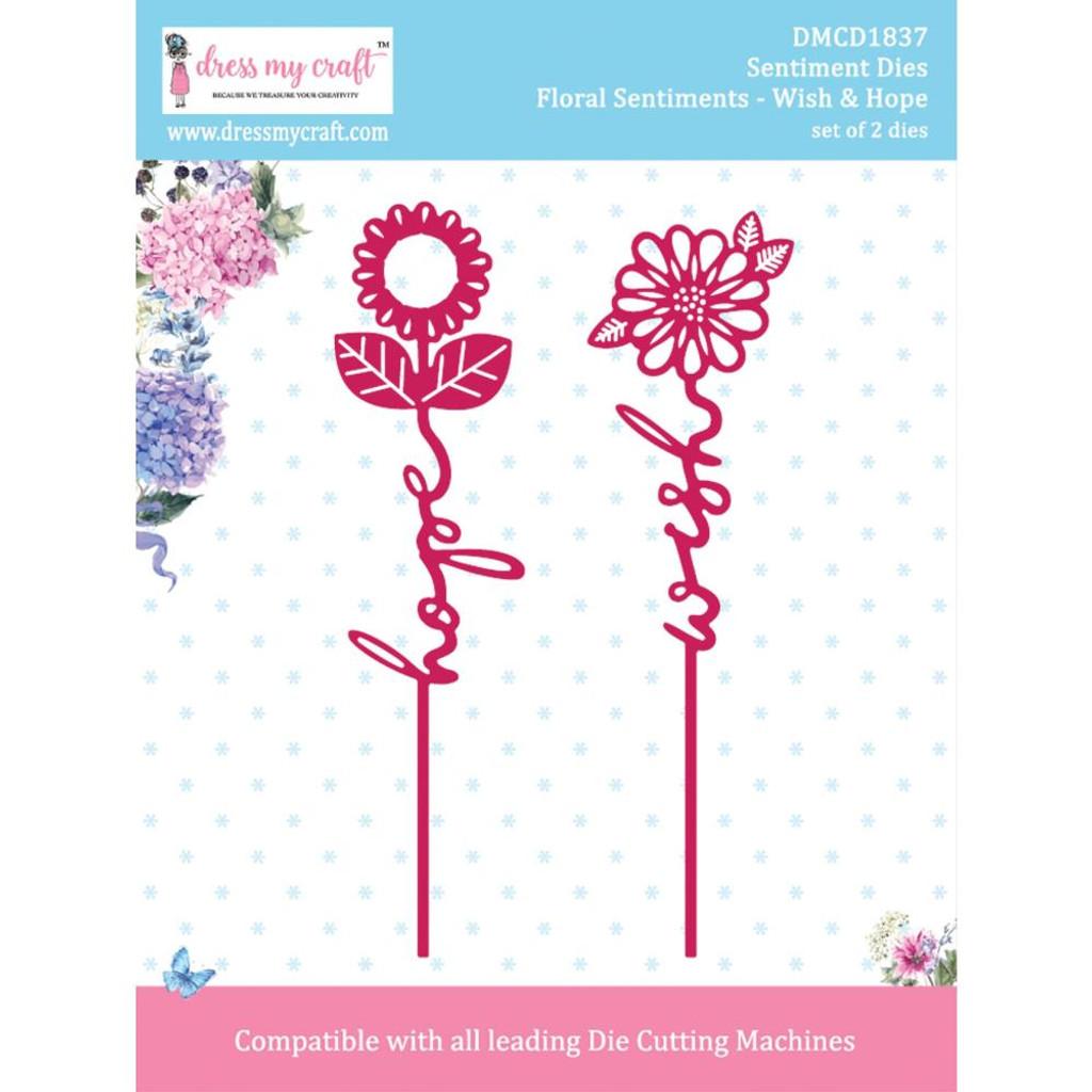 Dress My Crafts - Floral Sentiment Dies - Wish & Hope ( DMCD1837)