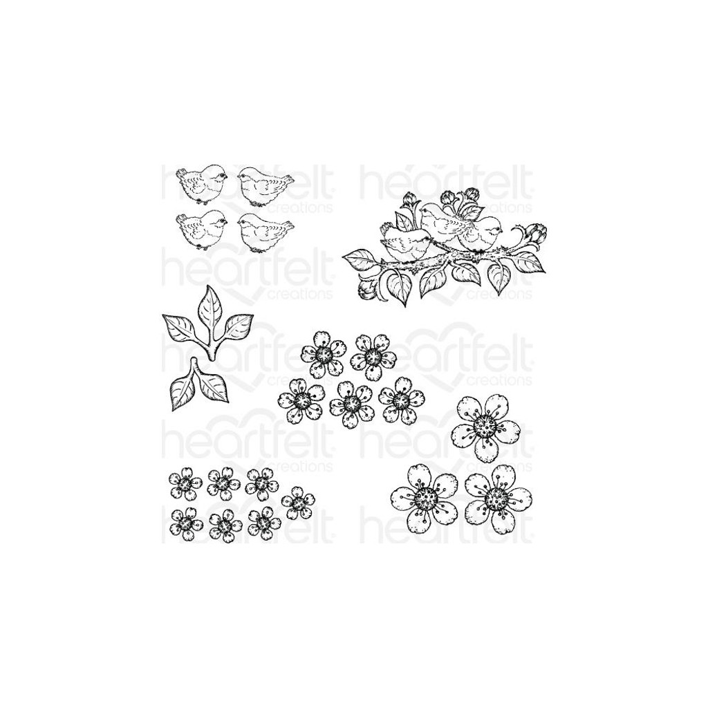 Heartfelt Creations - Cherry Blossom Retreat - Cling Rubber Stamp Set - Tweet Cherry Blossoms (HCPC3866)