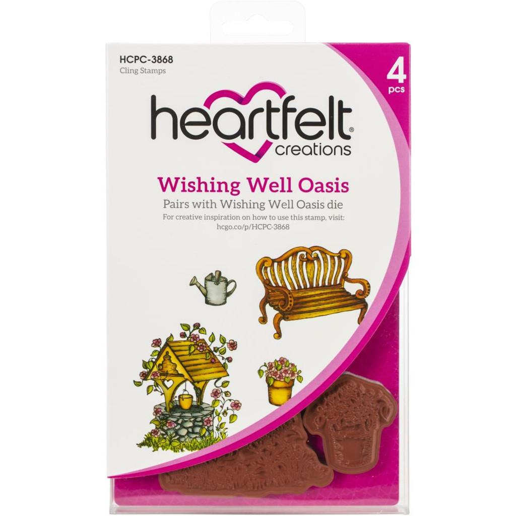 Heartfelt Creations - Cling Rubber Stamp Set - Wishing Well Oasis (HCPC3868)