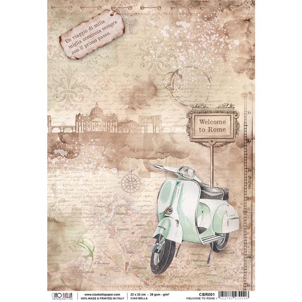 Ciao Bella Collection - Welcome To Rome - Decoupage Rice Paper Sheet (CBR001)