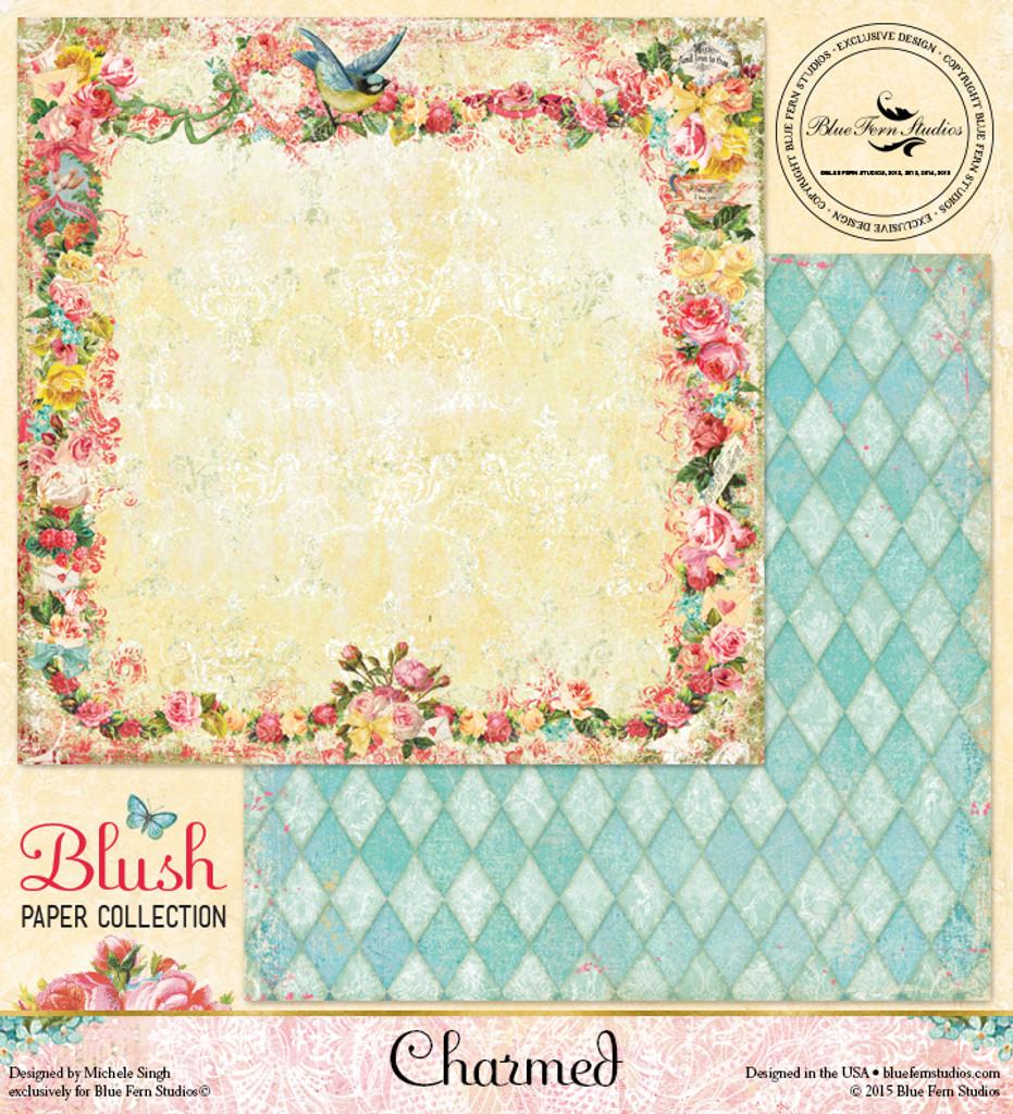 Blue Fern Studios - Blush - Scrapbooking Paper 12x12 - Charmed (105975)