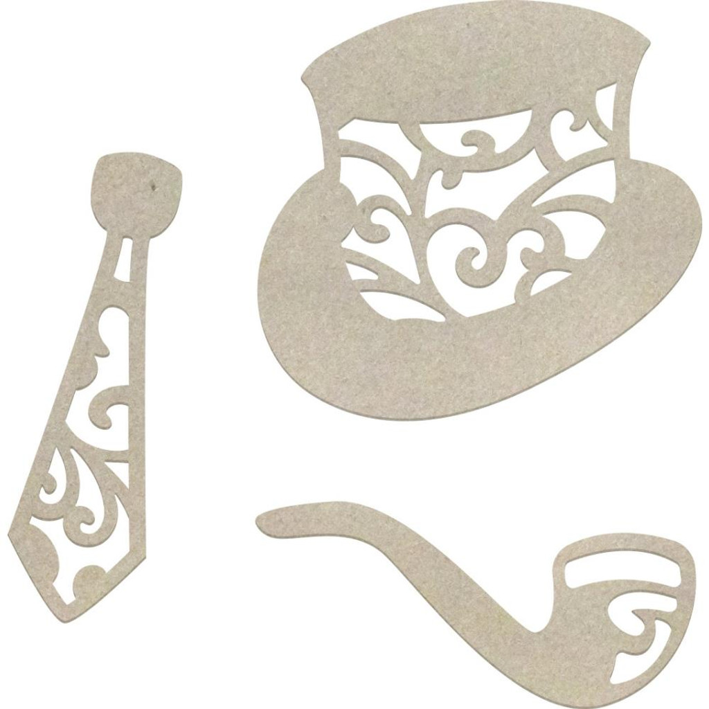 Couture Creations - Gentleman's Emporium - Chipboard - Hat, Tie & Pipe (CO726864)