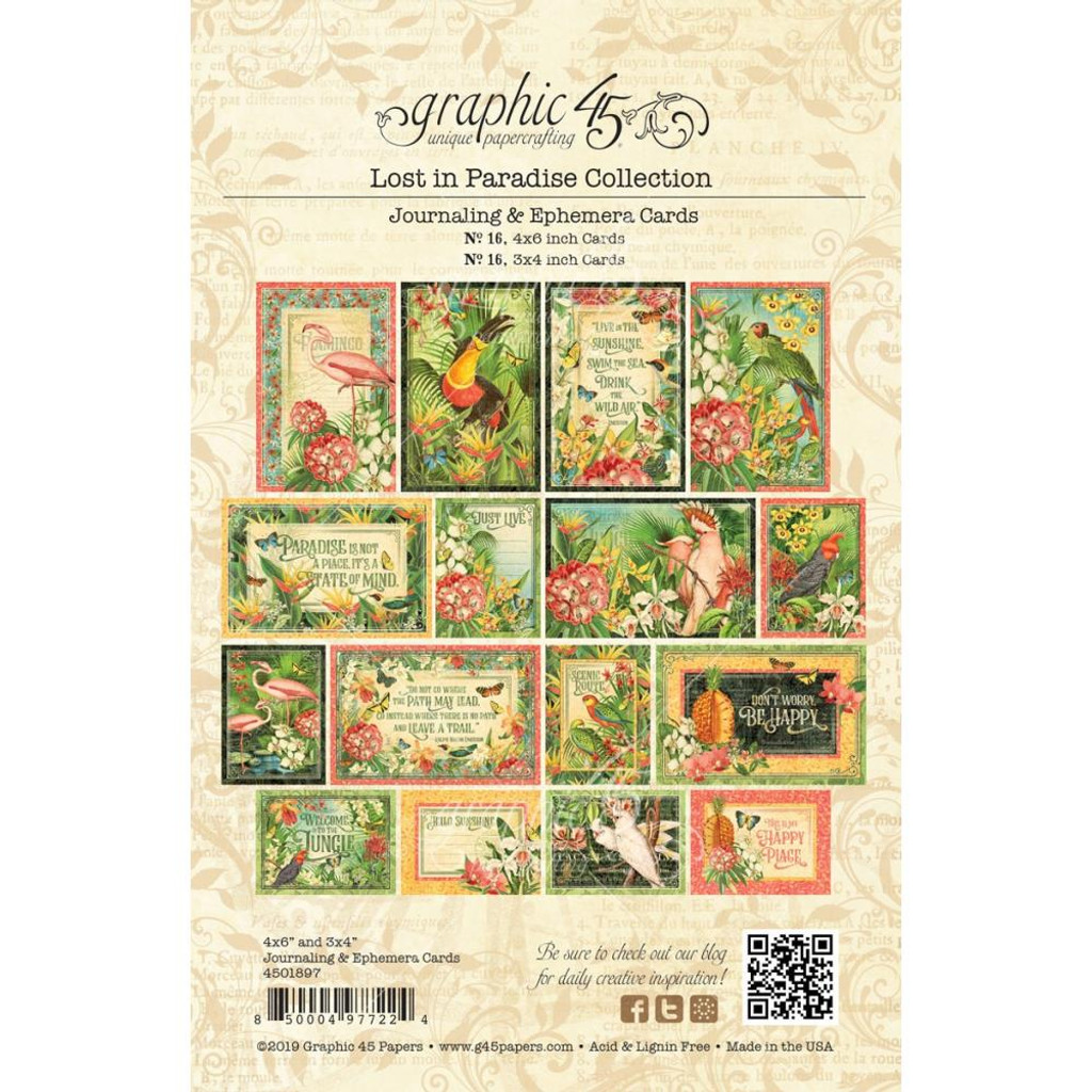 Graphic 45 - Emphemera Cards - Lost In Paradise (G4501897)