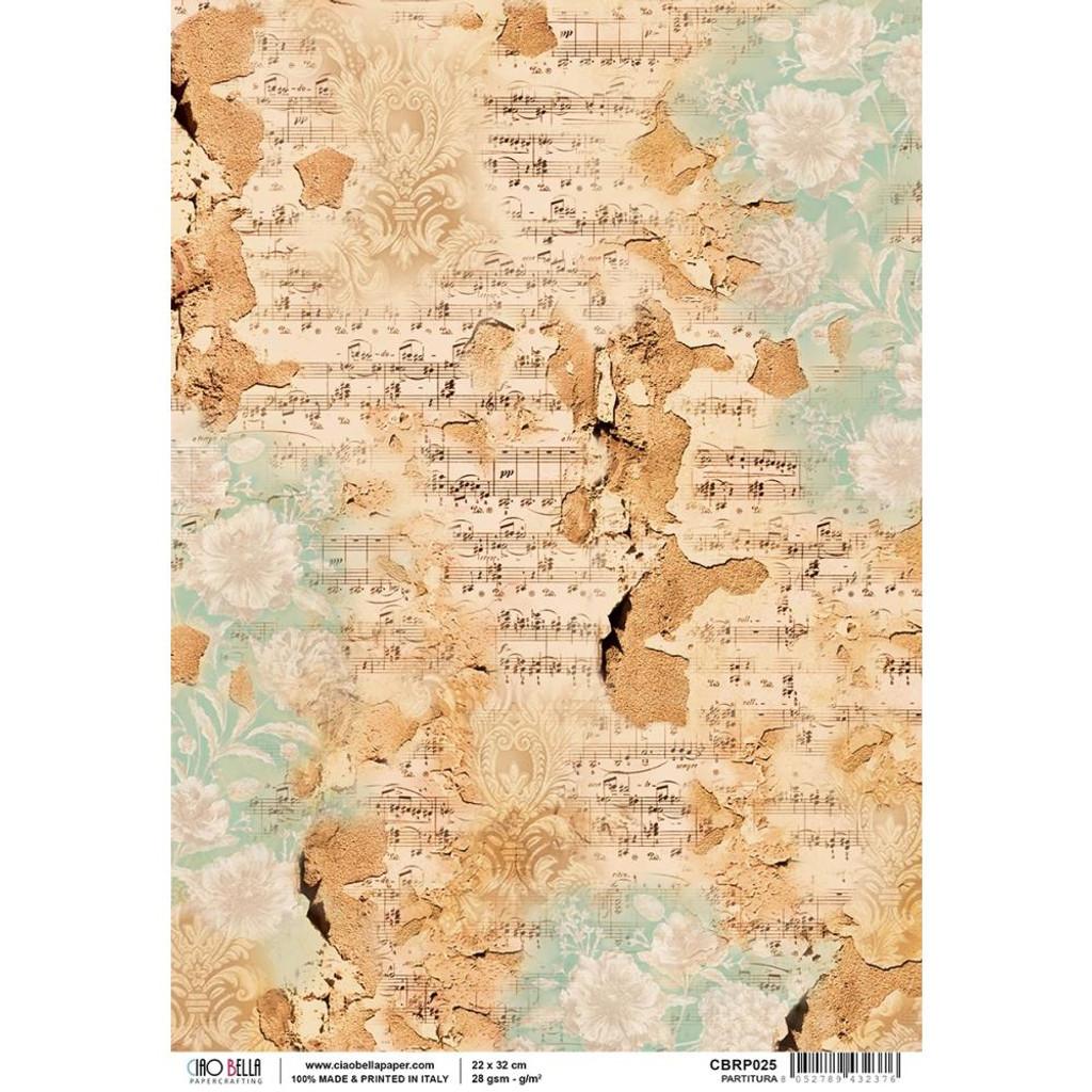 Ciao Bella - Decoupage Rice Paper Sheet - La Traviata Collection - Partitura (CBRP025)
