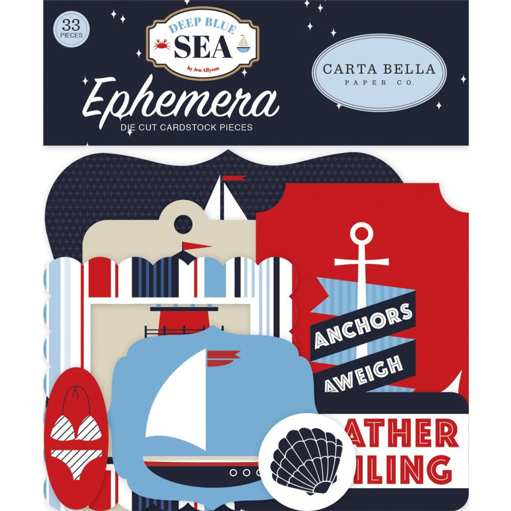 Carta Bella - Cardstock Ephemera Pkg/33- Deep Blue Sea (DB102024)