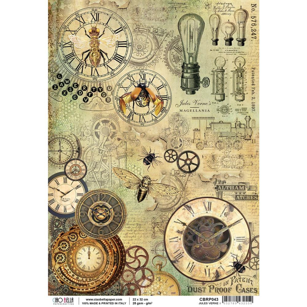Ciao Bella - Decoupage Rice Paper Sheet - Voyages Extradionaires - Jules Verne (CBRP043)
