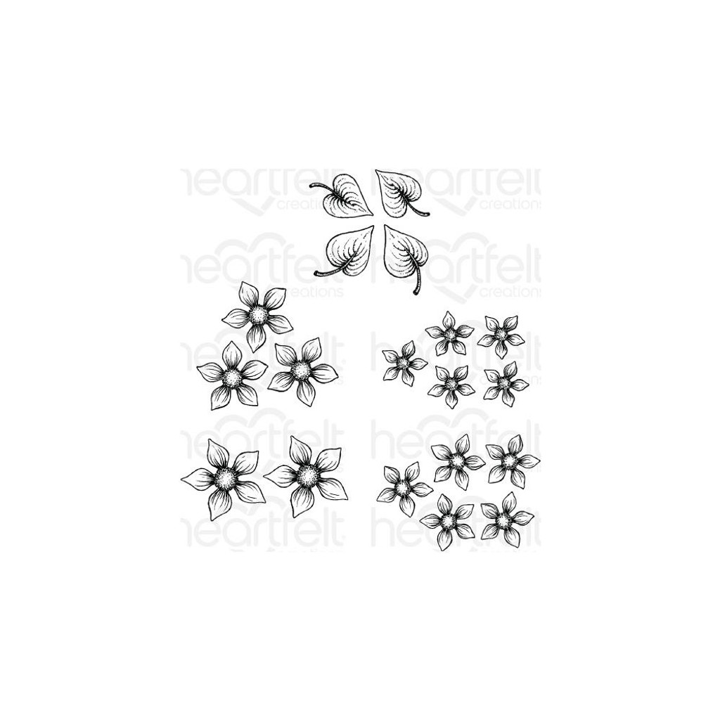 Heartfelt Creations - Cling Rubber Stamp Set - Purr-Fect Posies (HCPC3874 )