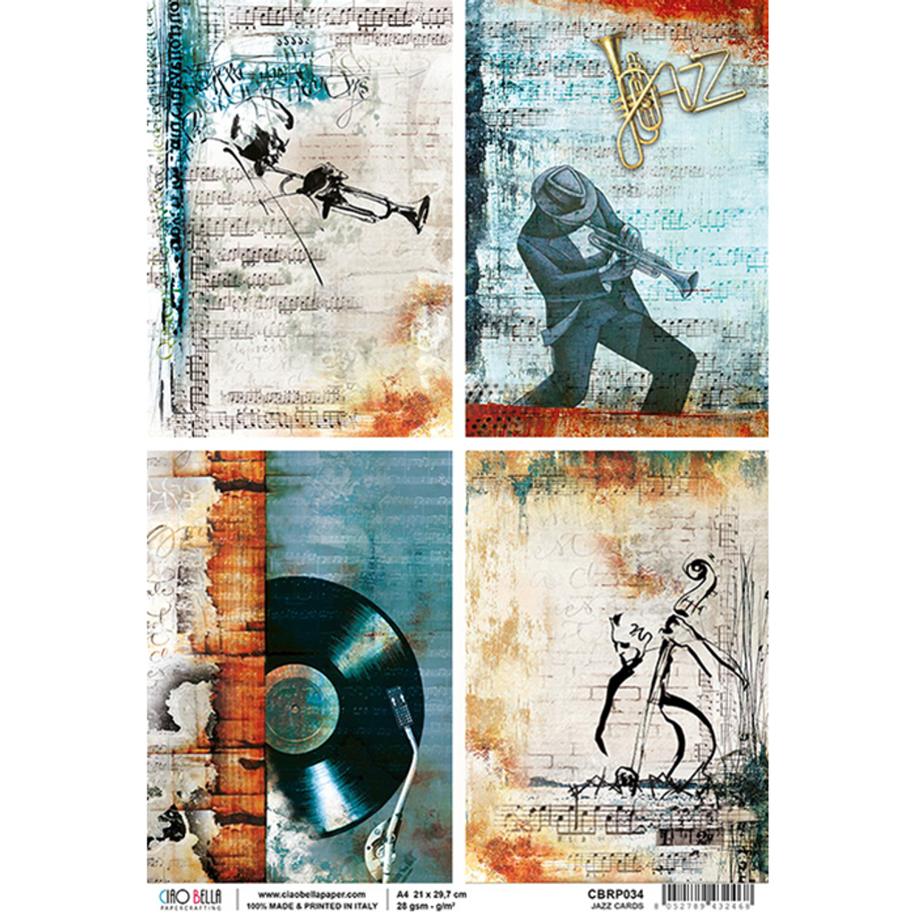 Ciao Bella - Decoupage Rice Paper Sheet - Jazz Club Collection - Jazz Cards (CBRP034)