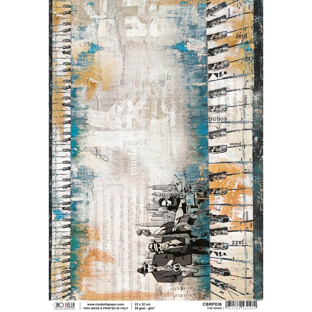 Ciao Bella - Decoupage Rice Paper Sheet - Jazz Club Collection - The Band (CBRP036)
