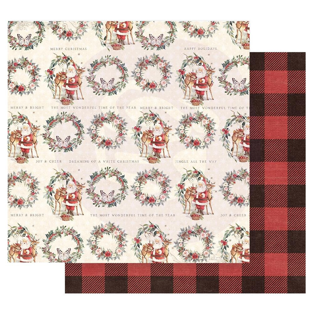 Prima Marketing - Double sided 12x12 Paper w/Foil Accents - Christmas In The Country - Most Wonderful Time Of The Year (CITC12 95232)