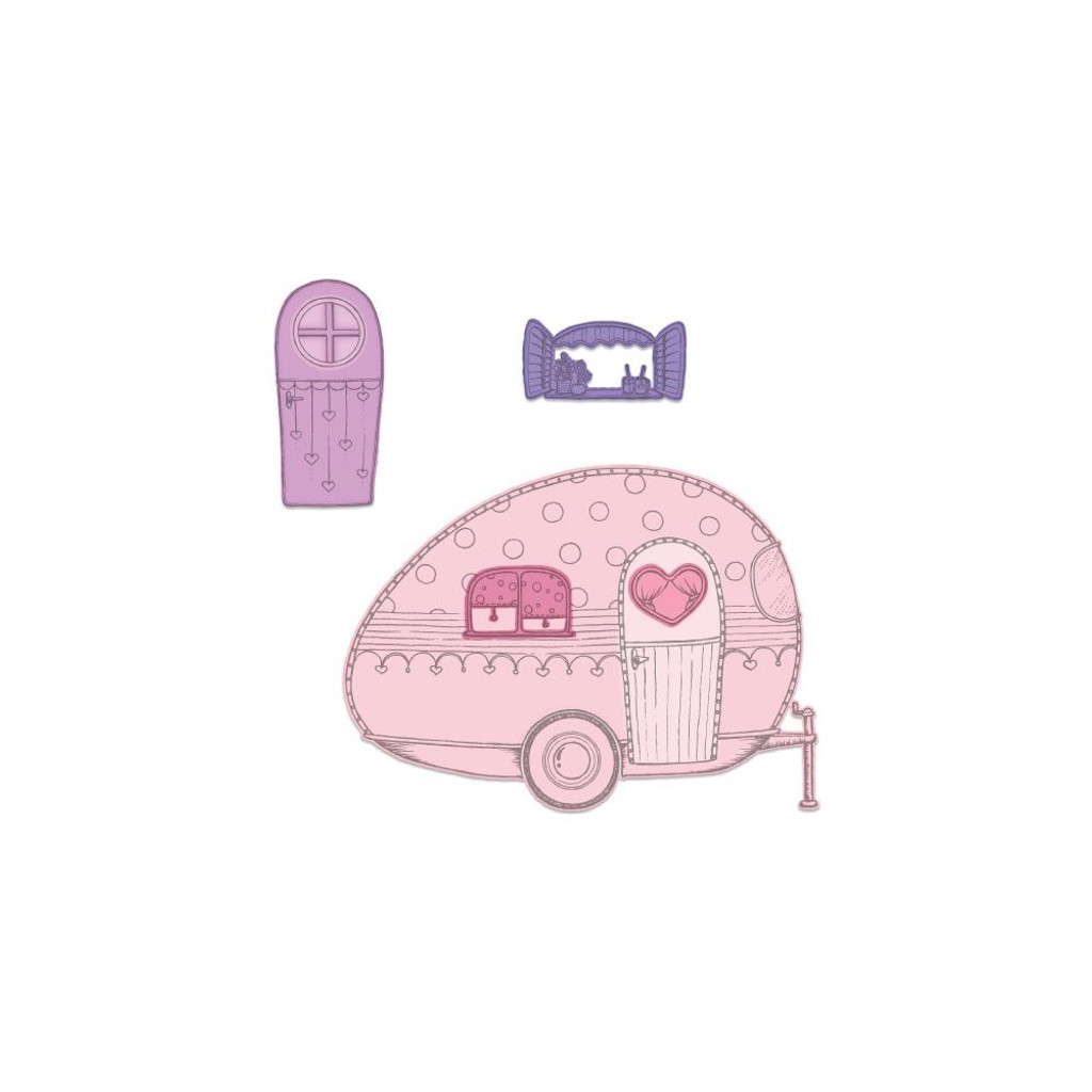 "Heartfelt Creations - Happy Camper Collection - Cut & Emboss Dies - Happy Camper 1"" To 5.5"""