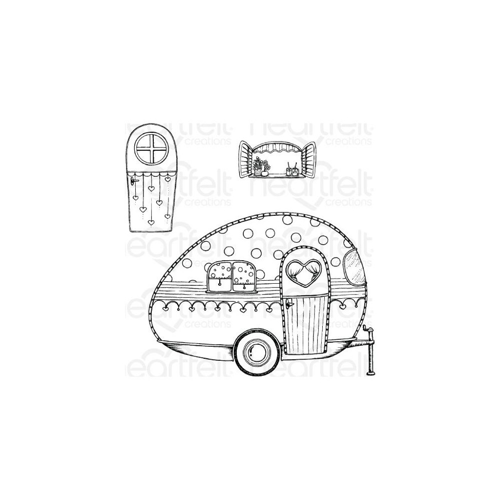 "Heartfelt Creations - Happy Camper Collection - Cling Rubber Stamp Set - Happy Camper 1"" To 5.25"""
