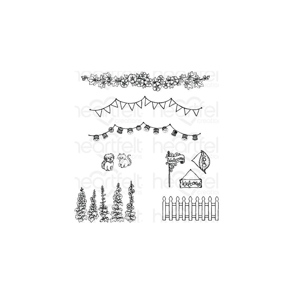 """Heartfelt Creations - Happy Camper Collection - Cling Rubber Stamp Set - Elements Of Home 1"""" To 4.5"""""""