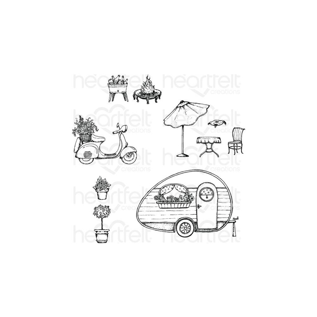 "Heartfelt Creations - Happy Camper Collection - Cling Rubber Stamp Set - My Happy Place .5"" To 3"""