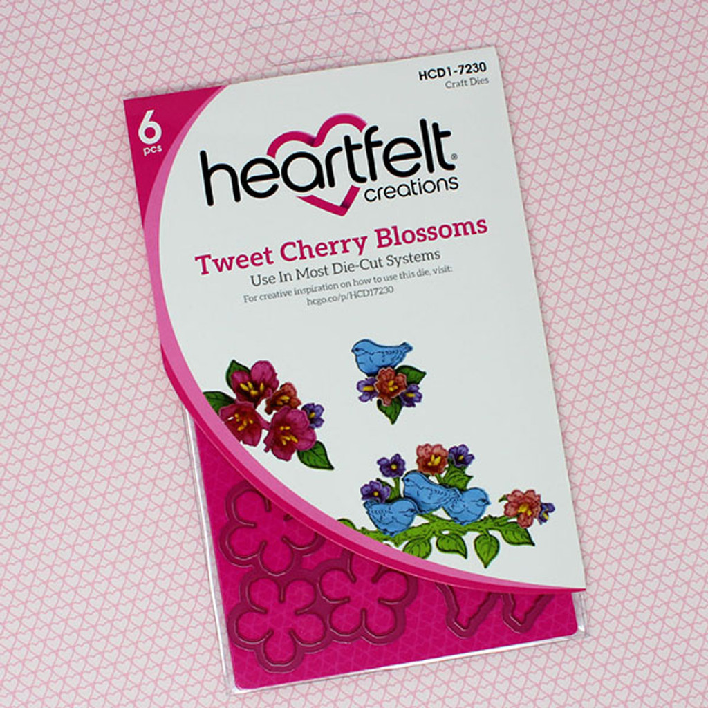 Heartfelt Creations - I WANT IT ALL - Cherry Blossom Retreat Collection - Cut & Emboss Dies - Tweet Cherry Blossoms - HCD17230