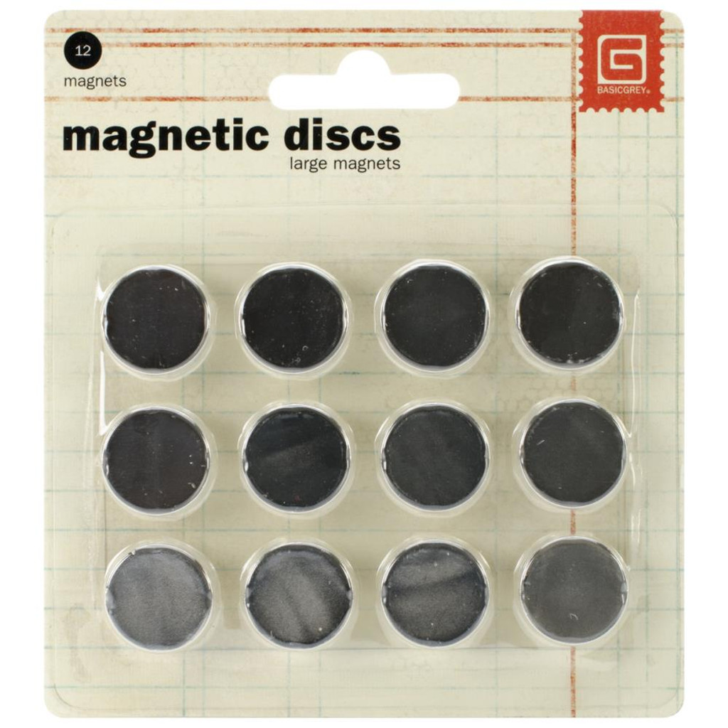 "Basic Grey - Magnetic Discs .625"" 12/Pkg (MET522)"