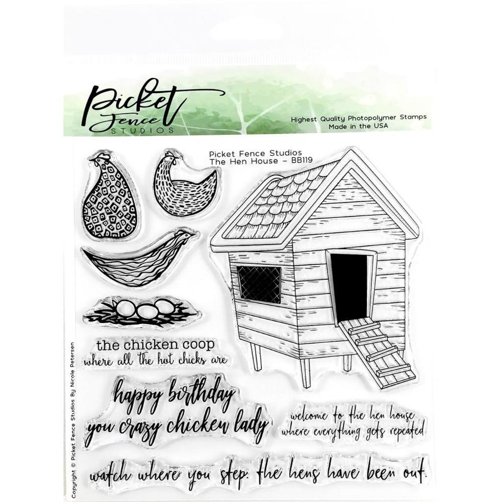 Picket Fence Studios - Stamp Set & Matching Die Bundle - Hen House ( BB-119/BB-119D )