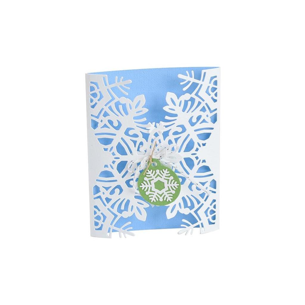 Sizzix - Jordan Caderao- Thinlits Die Set - Snowflake Card Wrap (663606)