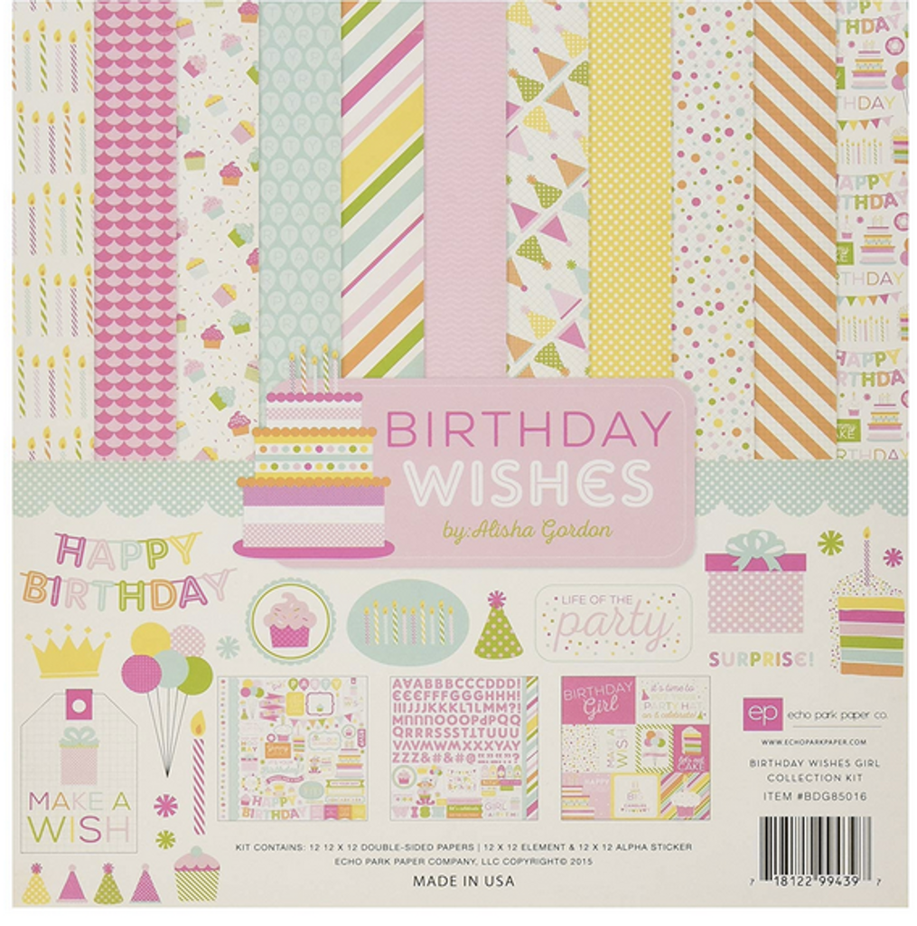 Echo Park - Collection Kit 12x12 - Birthday Wishes - Girl (BW-Girl)