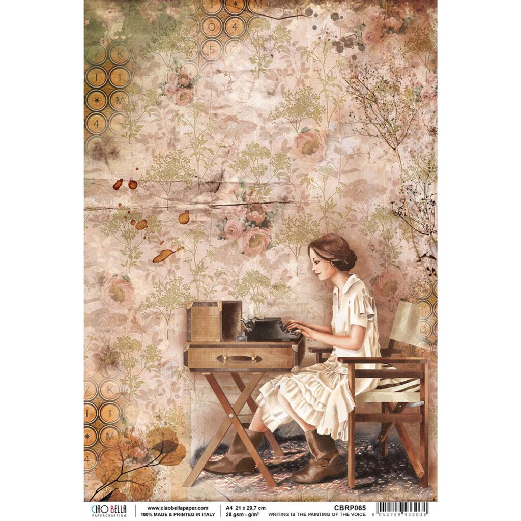 Ciao Bella - Decoupage Rice Paper Sheet - The Muse - Writing Is The Painting Of The Voice (CBRP065)