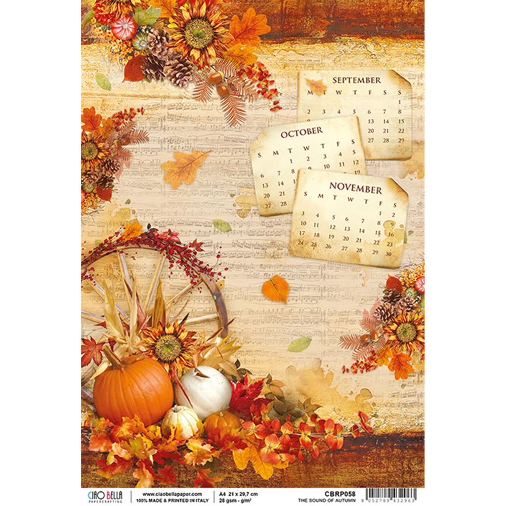 Ciao Bella - Decoupage Rice Paper Sheet - Sound of Autumn (CBRP058)