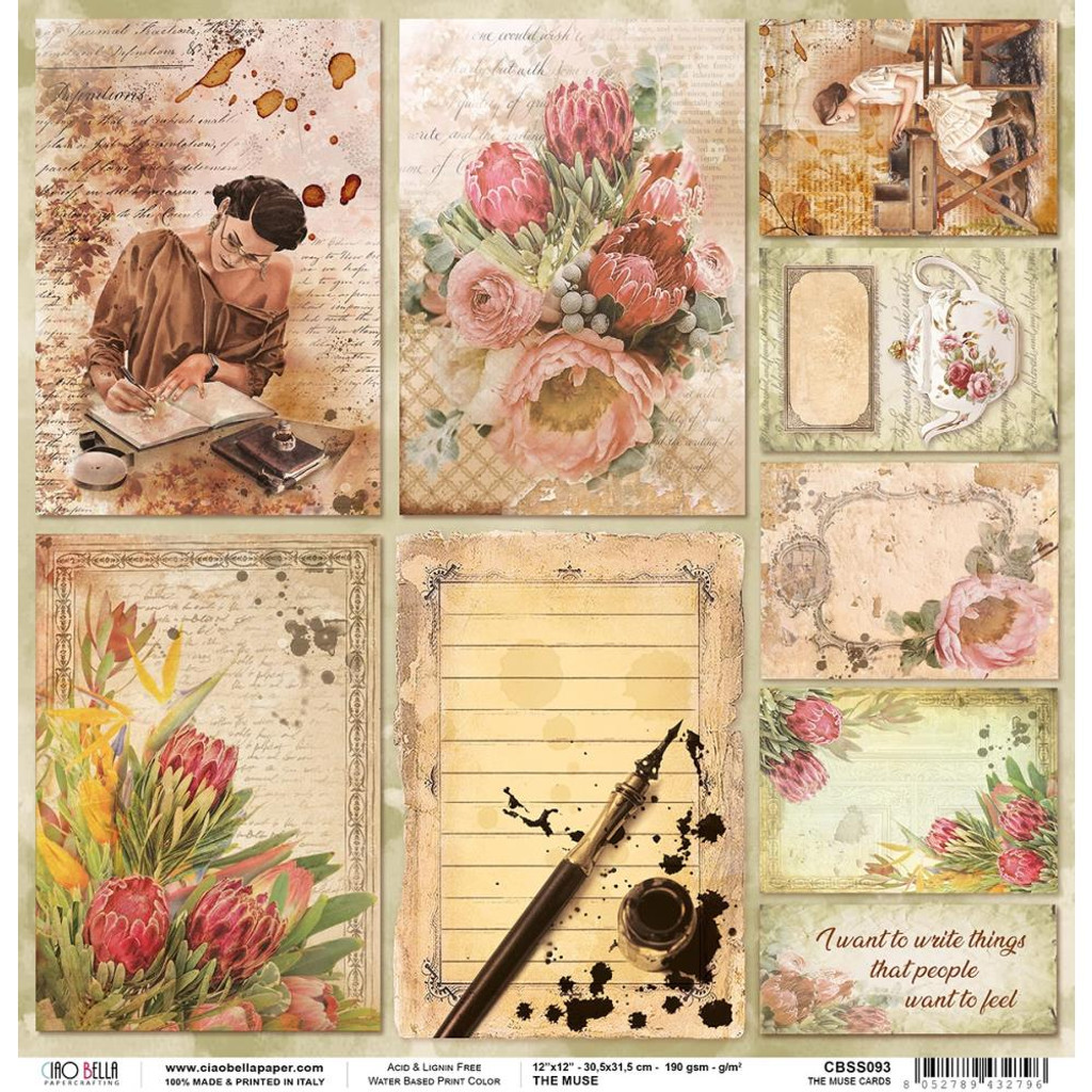 Ciao Bella - Double-Sided Cardstock 12x12 - The Muse - Cards (CBSS093)