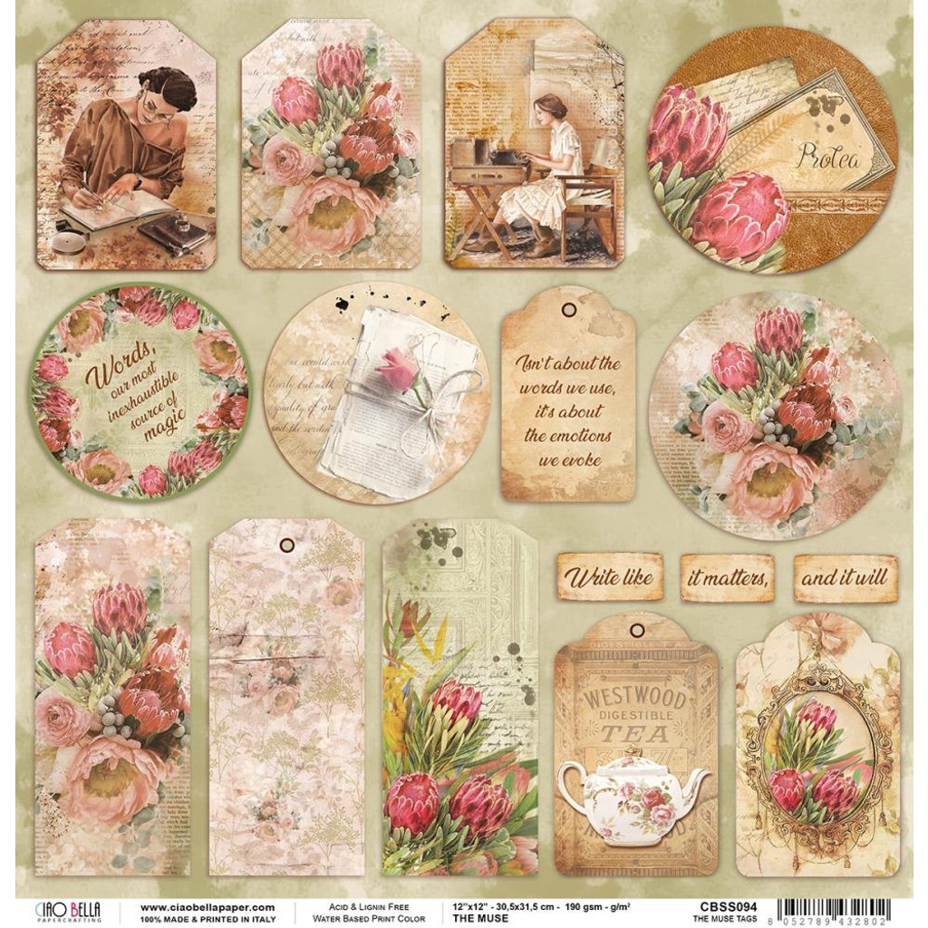 Ciao Bella - Double-Sided Cardstock 12x12 - The Muse - Tags (CBSS094)