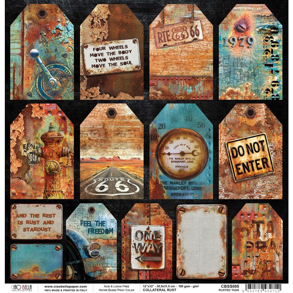 Ciao Bella - Double-Sided Cardstock - Collateral Rust - Rusted Tags (CBSS085)