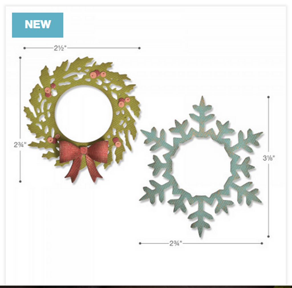 Sizzix - Tim Holtz - Framelits Dies - Wreath & Snowflake (664210)