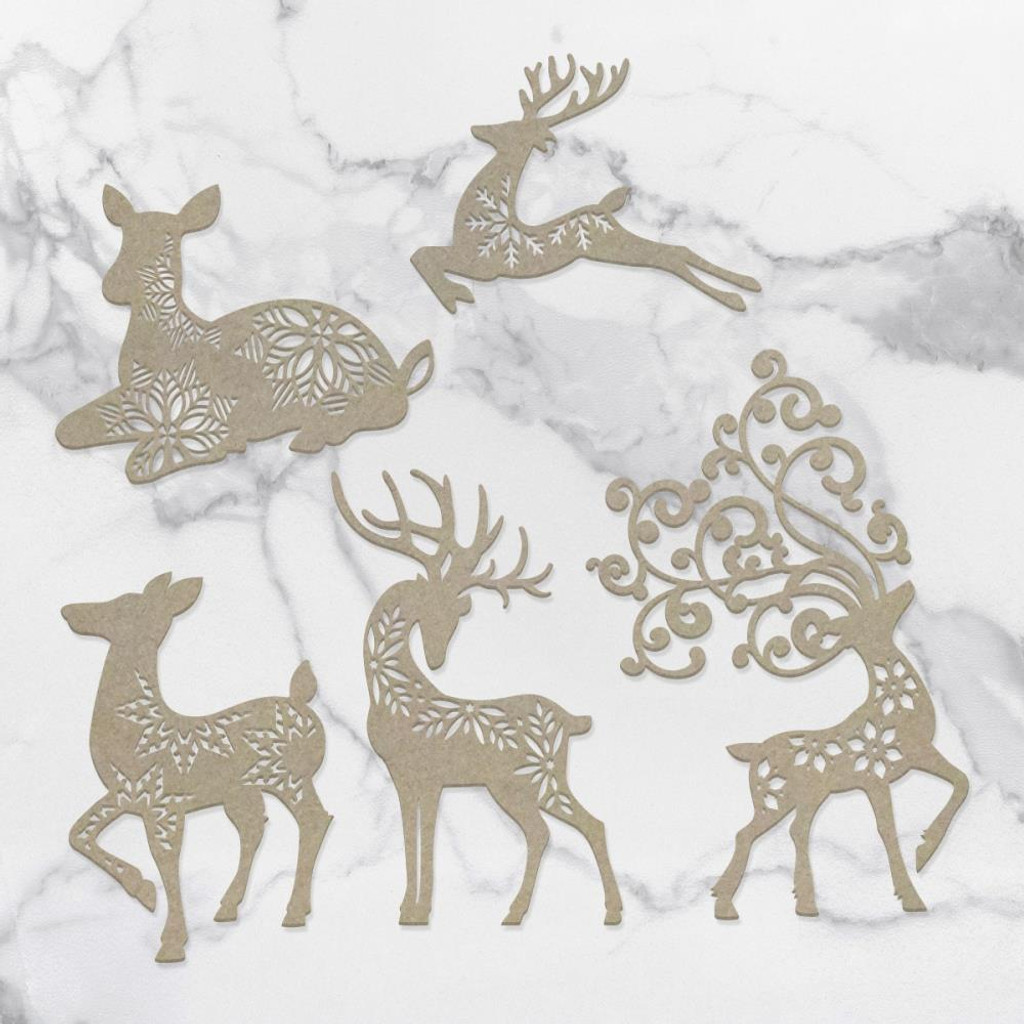 Couture Creations - Laser Cut Chipboard - Dasher, Dancer, Comet, Cupid & Vixen (CO727146)