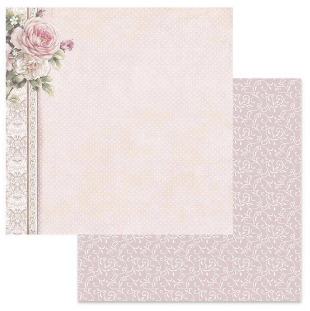 Stamperia - Double-Sided Cardstock 12x12 - Polka Dots w/Pink Border (SBB625)