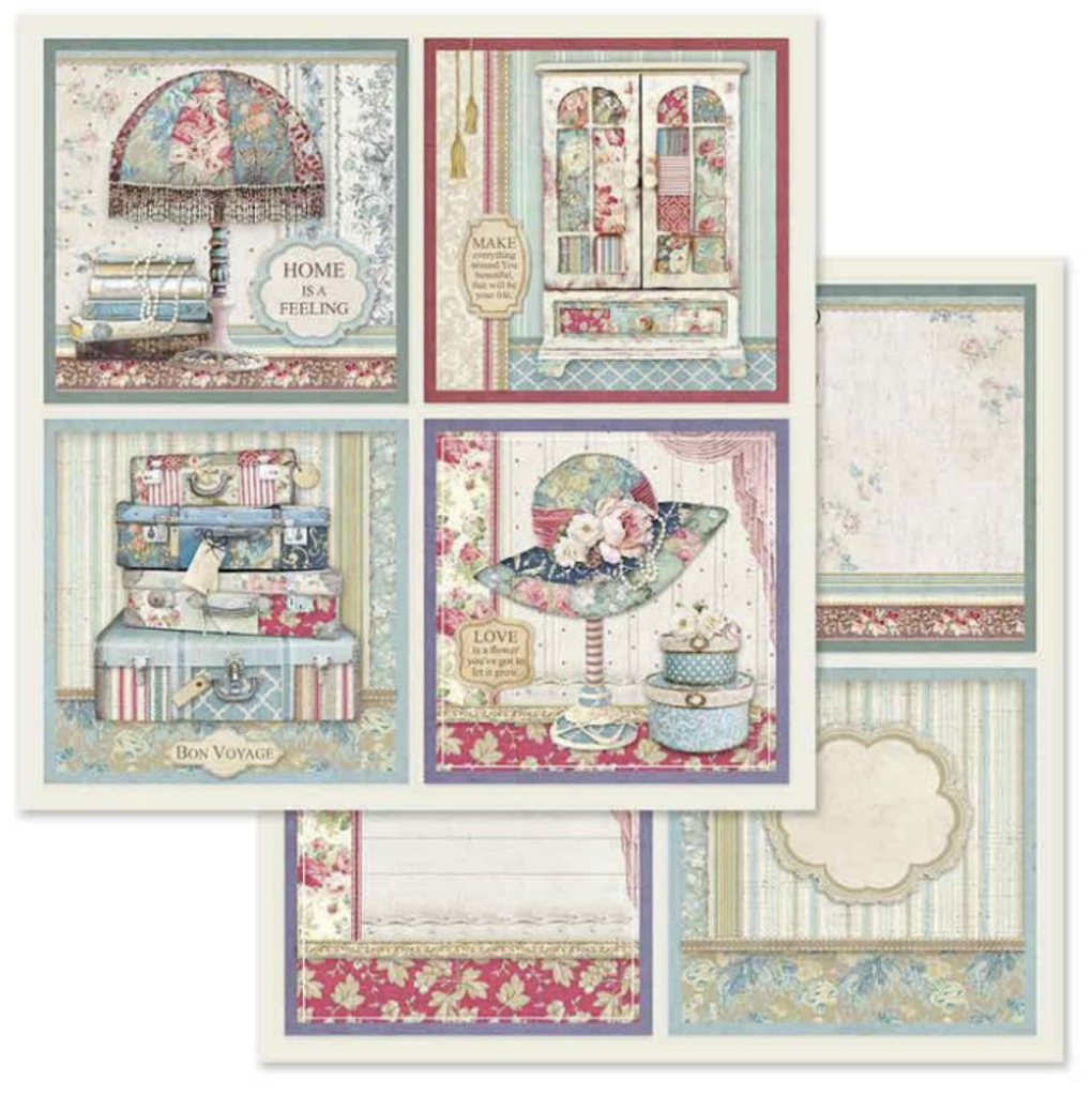 Stamperia - Double-Sided Cardstock 12x12 - Grand Hotel - 4 Frame Decorations (SBB629)