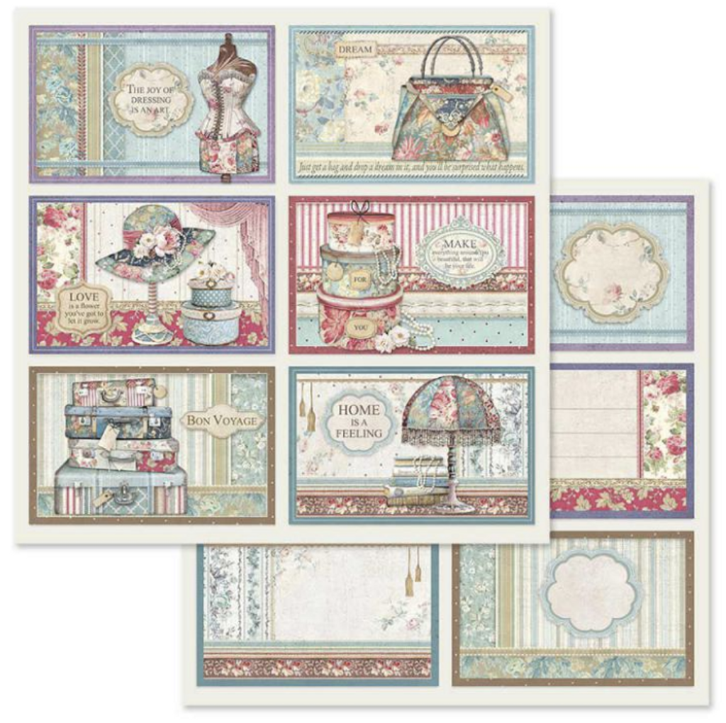 Stamperia - Double-Sided Cardstock 12x12 - Grand Hotel - 6 Frame Decorations (SBB630)