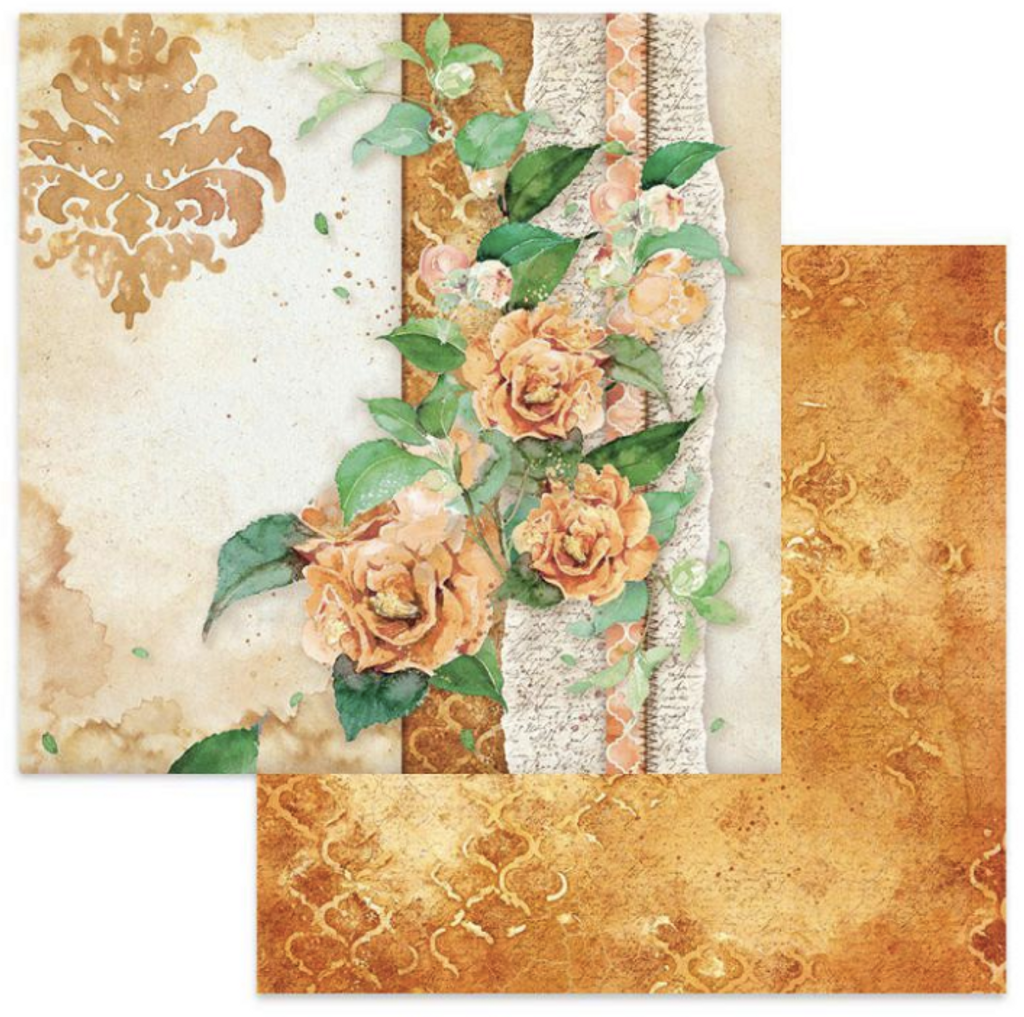 Stamperia - Double-Sided Cardstock 12x12 - Flowers For You - Ocher Background (SBB645)