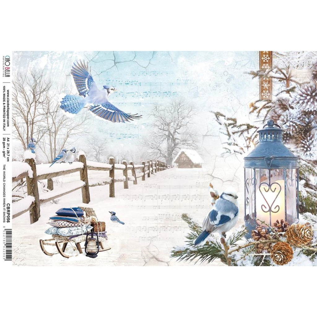 Ciao Bella - Decoupage Rice Paper- Time For Home - World Changes When Snows, (CBRP056)