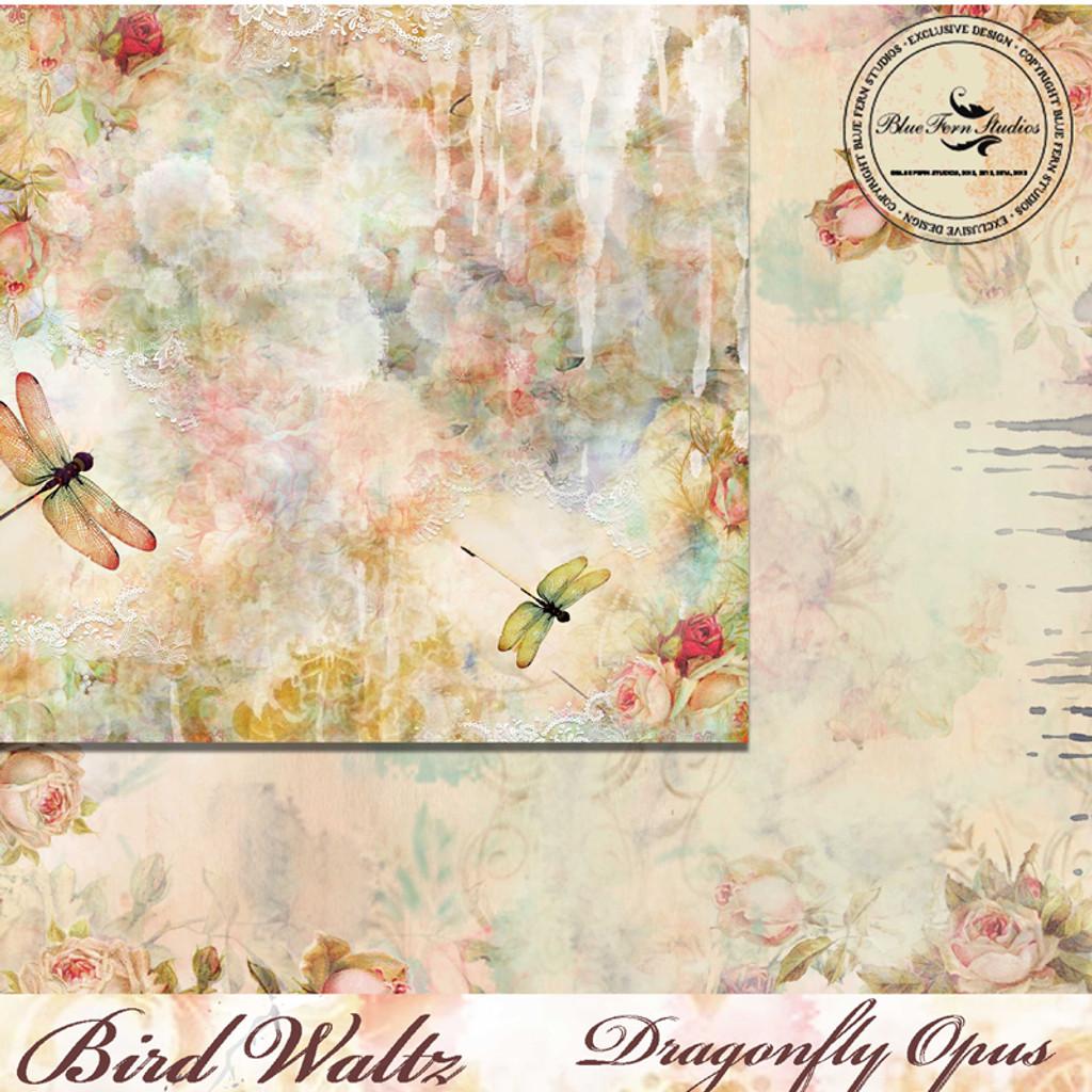 Blue Fern Studios - Bird Waltz - 12x12 dbl sided paper - Dragonfly Opus (686878)
